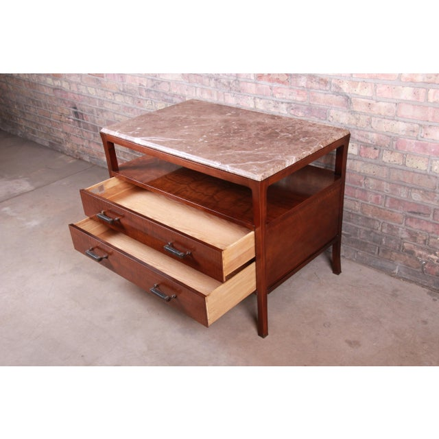 Wood Baker Furniture Modern Mahogany Marble Top Buffet Server For Sale - Image 7 of 13