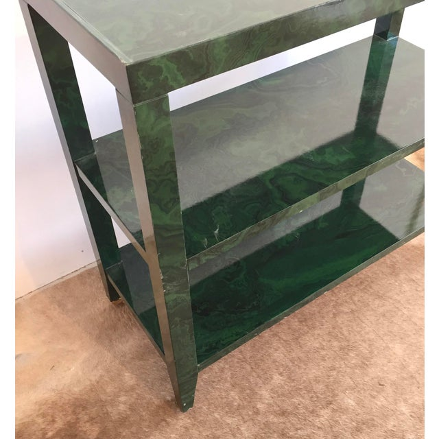 Brass 1960s Mid-Century Modern Faux Malachite Bar Cart on Wheels For Sale - Image 7 of 10