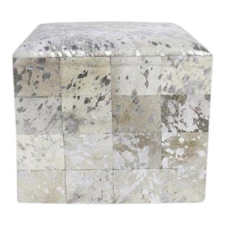 Silver Cowhide Ottoman For Sale