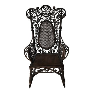 Late 19th Century Antique Brown Rattan Rocking Chair For Sale