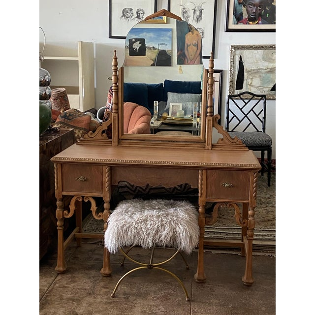 This beautifully detailed and impeccably refinished vanity is made by American furniture maker, Karpen, in the Victorian...