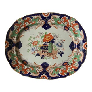 Antique Ironstone China Hand Painted Platter For Sale
