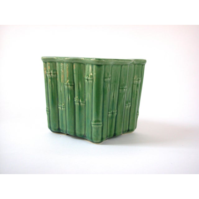 Asian Green Ceramic Bamboo Planter For Sale - Image 3 of 7