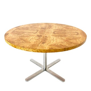 Round Burl Wood Top Dining Table With Star Base For Sale