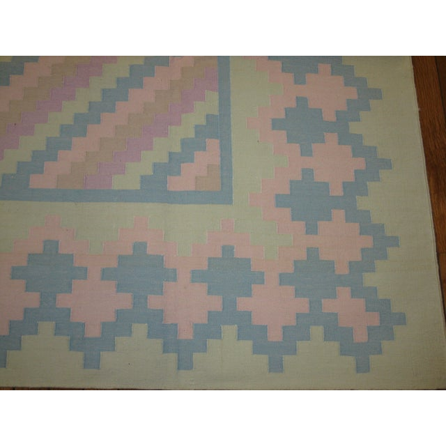 Handmade Indian Cotton Dhurry Rug - 6' x 9' For Sale - Image 4 of 5