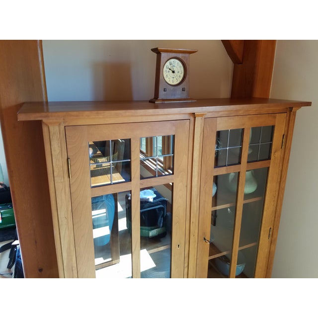 2000s Stickley Cherry Leaded Glass Double Door Bookcase For Sale - Image 5 of 13