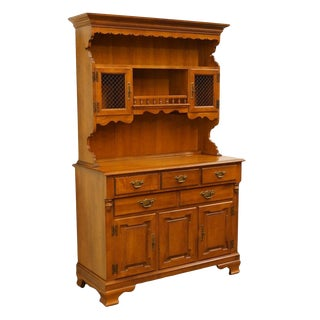 Late 20th Century Tell City Young Republic Solid Hard Rock Maple Buffet Hutch For Sale