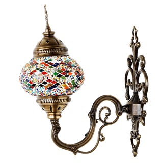 Turkish Tribal Handmade Mosaic Wall Sconce For Sale