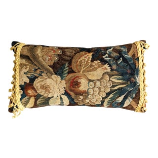 Antique French Aubusson Pillow With Passimenterie Fringe For Sale