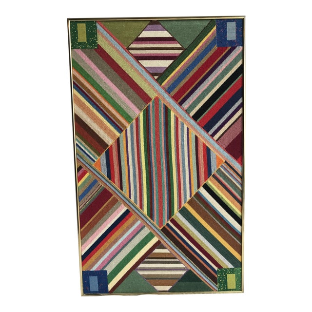 """Large Geometric Colorful Original Needlepoint Art - 36.35"""" x 22.25"""" - Image 1 of 11"""