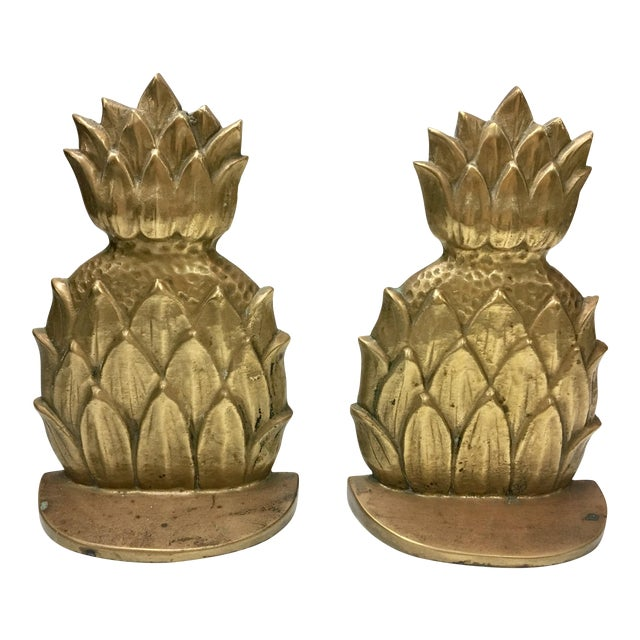 Brass Pineapple Bookends - A Pair - Image 1 of 4