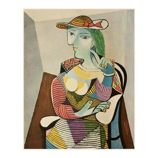 """1954 Pablo Picasso """"Woman With a Hat"""", Large Period First Limited Italian Edition Lithograph For Sale"""