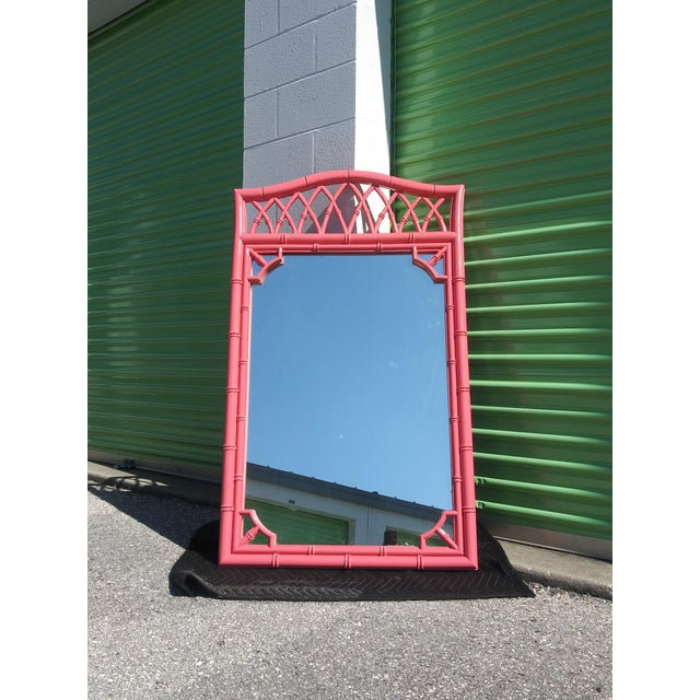 Palm Beach Flamingo Pink Faux Bamboo Wall Mirror For Sale - Image 10 of 11