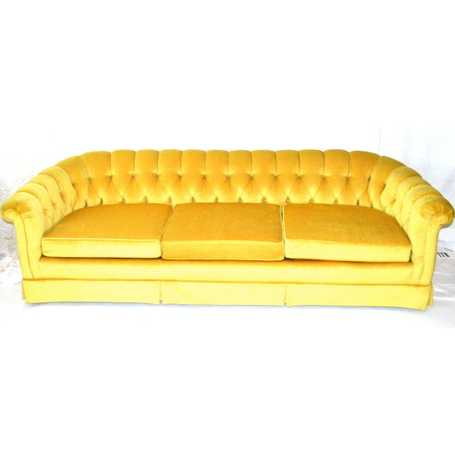Vintage Yellow Tufted Sofa - Image 2 of 6