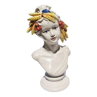 Italian Majolica Ceramic Hand Painted Bust of a Woman With Wheat and Tassel Crown For Sale