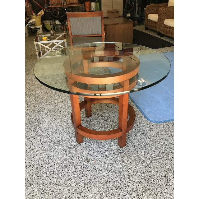 Contemporary Cherry Wood Round Glass Top Dining Table Chairish