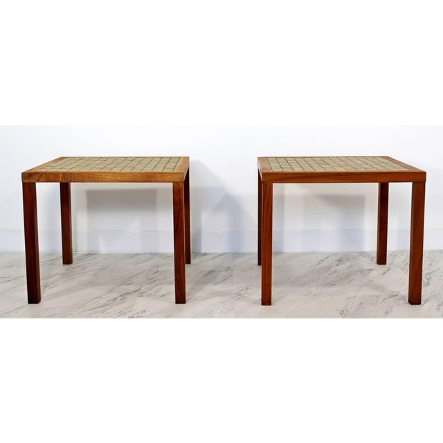 1960s Mid-Century Modern Gordon & Jane Martz Green Tile-Top Walnut Side Tables - a Pair For Sale - Image 9 of 9