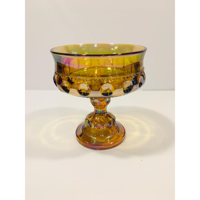 1970s Indiana Glass Crown and Thumbprint Carnival Glass Compote -Wedding Bowl For Sale - Image 5 of 5