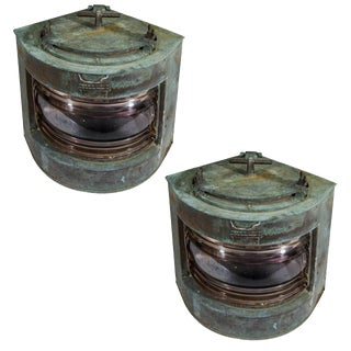 Antique English Ship Lanterns With Original Red and Green Lenses - a Pair For Sale
