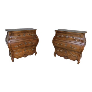 "Baker French Louis XV Style Bombe Chests - a Pair 31""w X 30""h For Sale"