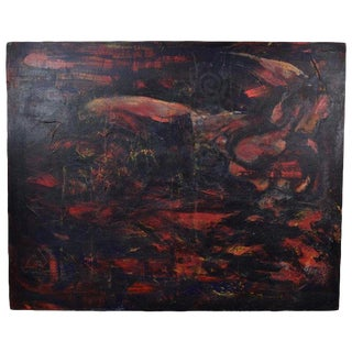 Large Vintage Modern Abstract Oil Painting With Emerging Form For Sale