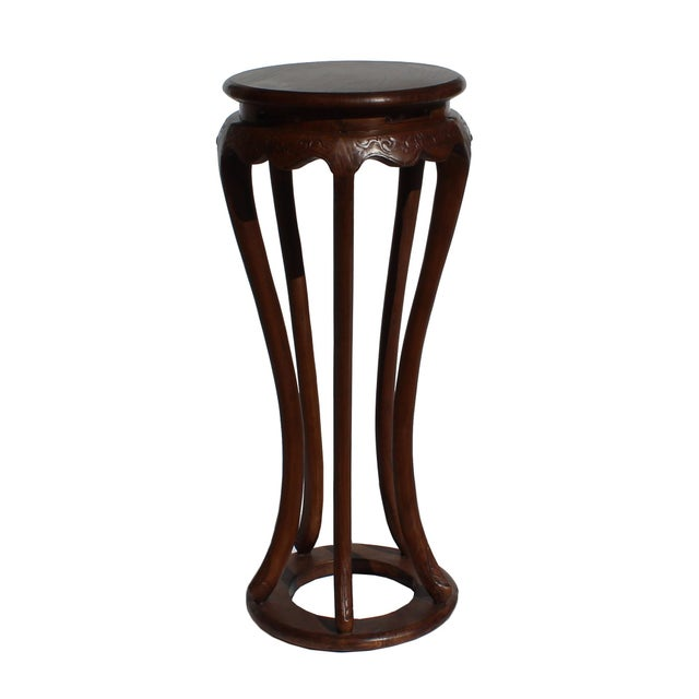 Asian Chinese Brown Tall Round 5 Legs Plant Stand Pedestal Table For Sale - Image 3 of 7