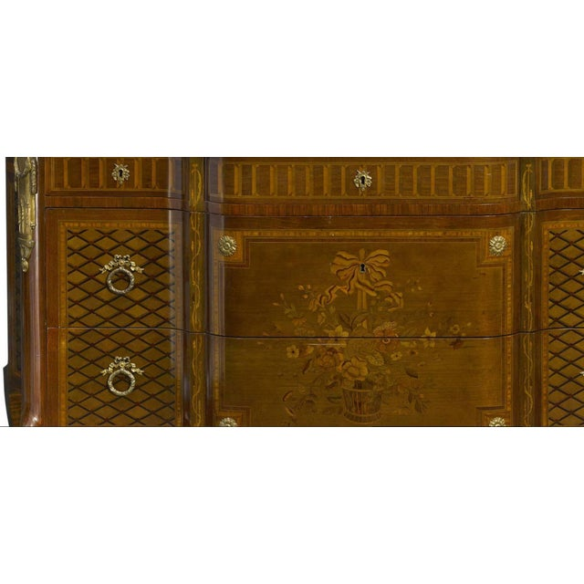 Impressive oversized 19th century French Louis XV-XVI transitional period style parquetry and marquetry inlaid gilt...
