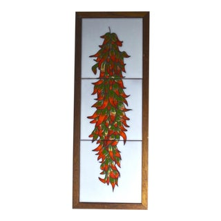 Vintage Chili Peppers Terra Cotta Tiles Wall Plaque/Tray For Sale