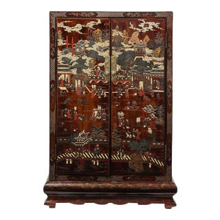 Chinese Qing Dynasty Brown Coromandel Lacquer Cabinet For Sale