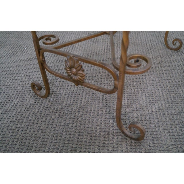Antique Wrought Iron Marble Top Side Table - Image 6 of 10