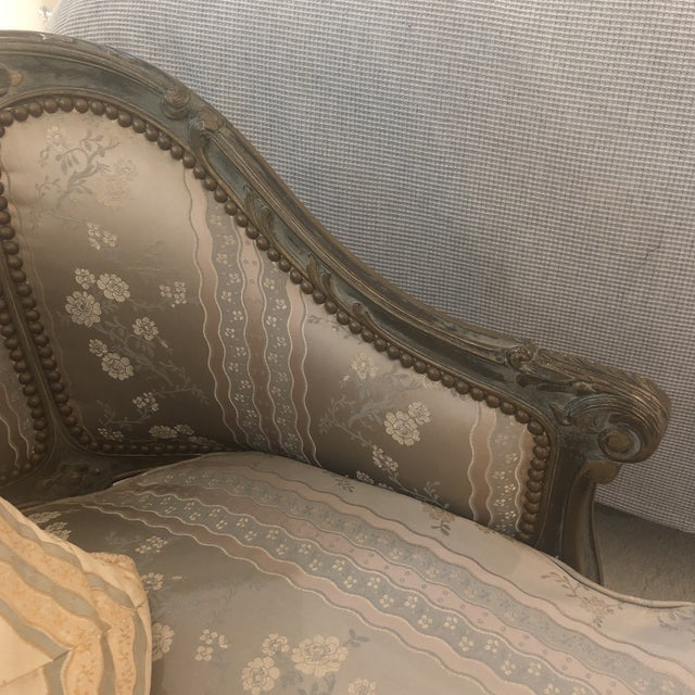 1930s Antique French Louis XVI Carved Chaise Lounge For Sale - Image 4 of 13