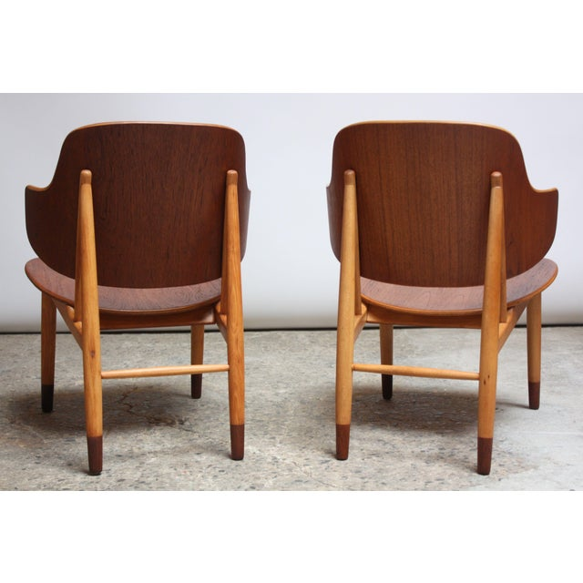 Brown Ib Kofod-Larsen Danish Sculptural Shell Chairs in Teak and Beech - a Pair For Sale - Image 8 of 13