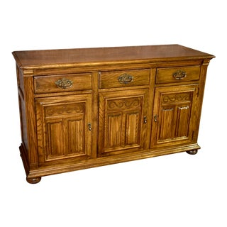 Vintage Ethan Allen Solid Oak Tudor Style Server Cabinet For Sale