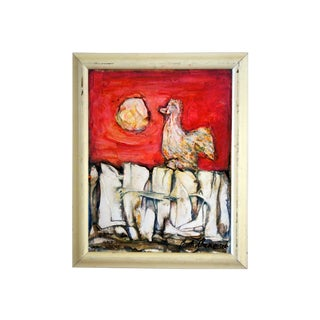 "Barbara Wengorek ""Rooster on a Fence at Sunrise"" Oil on Canvas Painting For Sale"