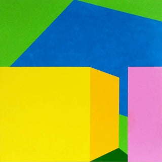 """Martha Hughes """"Scene 207"""" Pool and Cabanas Geometric Acrylic Painting on Wood Panel in Yellow, Blue, Green, Pink For Sale"""