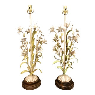 20th Century Italian Hand Painted Tole Lamps - a Pair For Sale