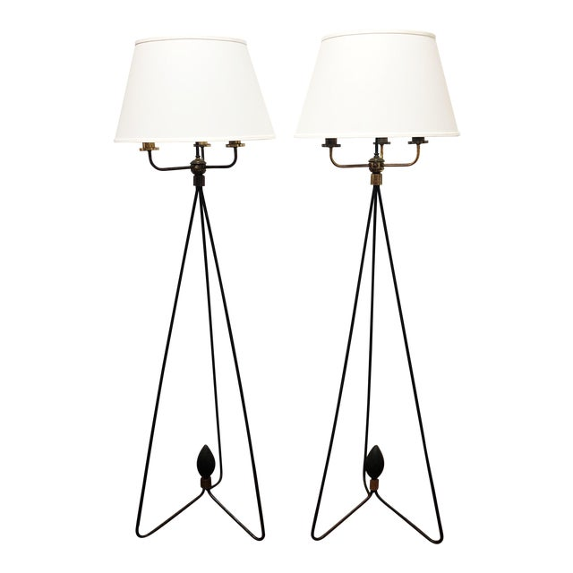 Pair of Early Gerald Thurston Iron Floor Lamps For Sale