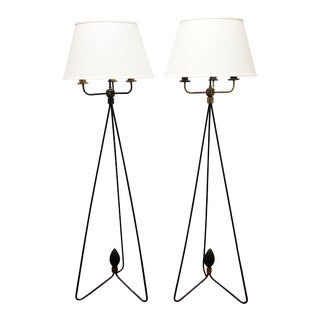 Pair of Iron Mid-Century Floor Lamps For Sale