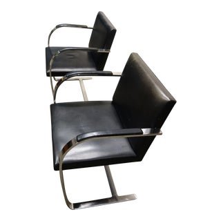 Mies Van Der Rohe for Knoll Leather Flat Bar Brno Chairs - a Pair