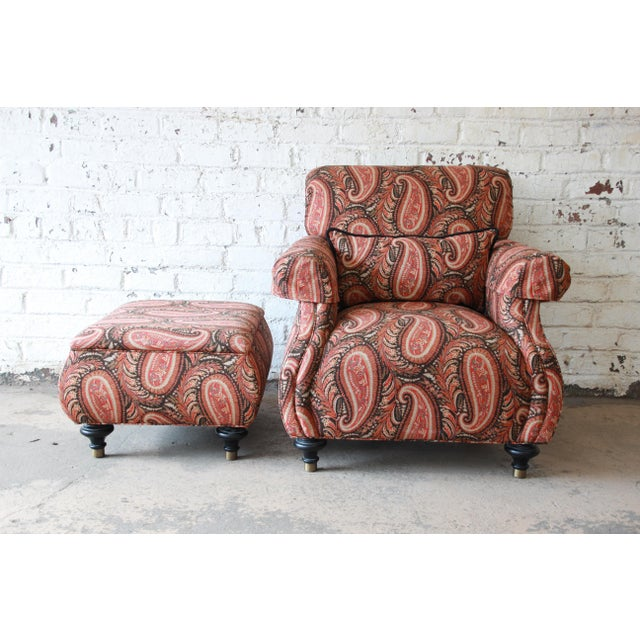 Kravet Lounge Chair and Ottoman in Paisley Upholstery For Sale In South Bend - Image 6 of 12