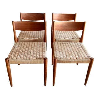 Mid Century Teak Poul Volther for Frem Rojle Woven Cord Seat Dining Chairs- Set of 4 For Sale