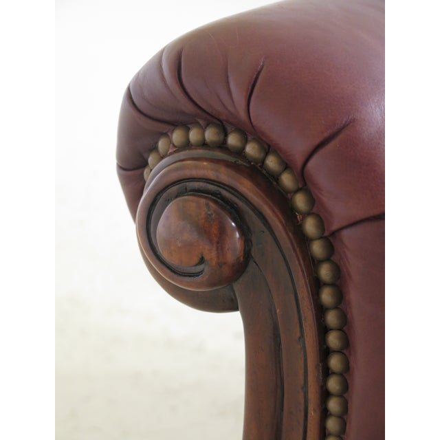 English Alexander Taylor Leather & Mahogany Club Chairs- A Pair For Sale - Image 3 of 13