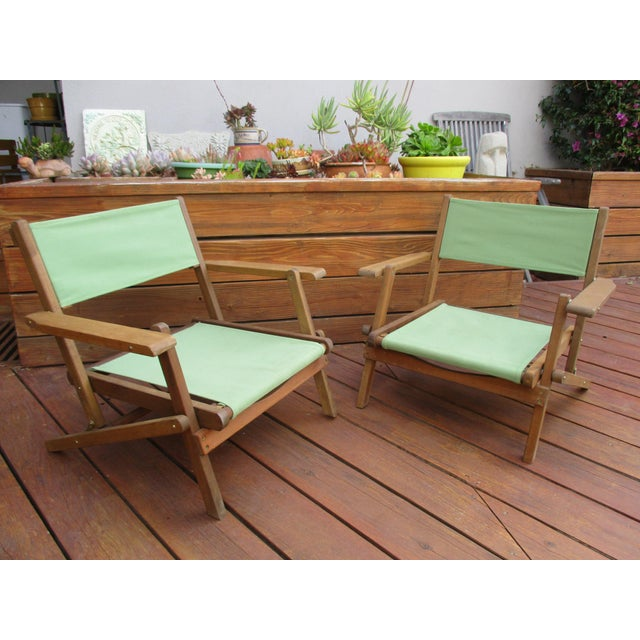 Vintage Teak Folding Canvas Chairs - A Pair For Sale - Image 4 of 10