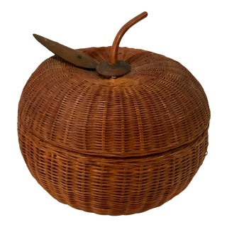 Vintage Wicker Rattan Handwoven Apple Basket With Wooden Leaves Detail For Sale