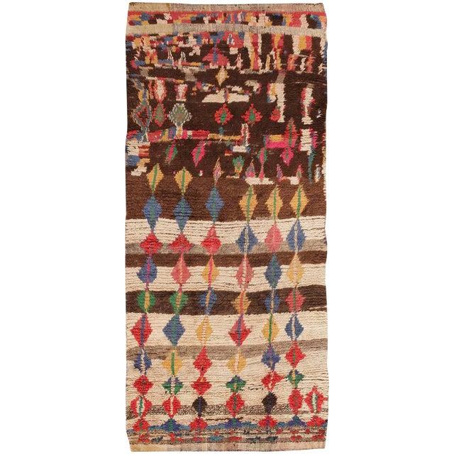 Mid-Century Vintage Folk Art Moroccan Rug - 4′9″ × 10′4″ For Sale