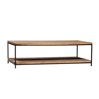 Reclaimed Elm & Iron Coffee Table For Sale
