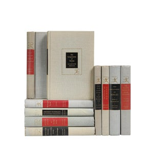 Modern Scarlet & Onyx Library Accent Books- Set of 10 For Sale