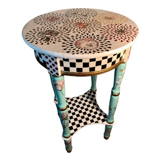 MacKenzie-Childs Inspired Hand Painted Checkered Pattern & Florals Plant Stand or Side Table For Sale