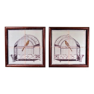 Dutch Delft Pair of Framed Tiles With Birds in Birdcages, 19th Century For Sale