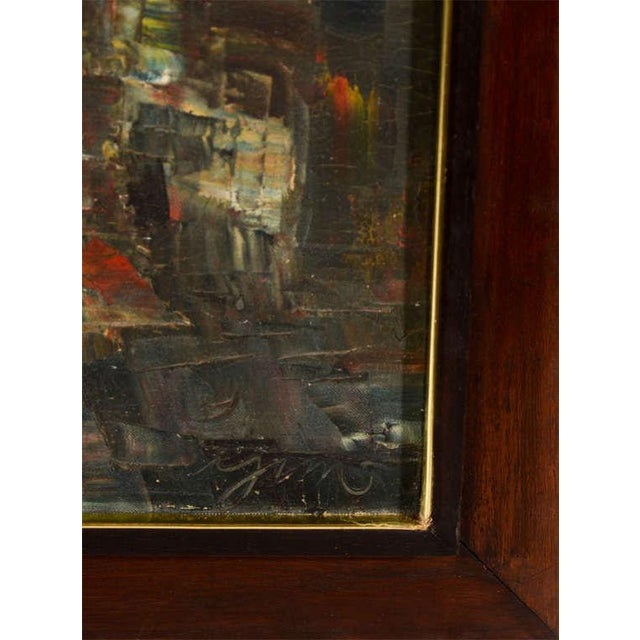 1950s Vintage Abstract Painting of Rowboats in Original Wood Frame For Sale - Image 5 of 7